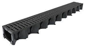 Aco Hex Drain Black Plastic 1M