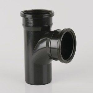 Brett Martin 110mm Push Fit PVCu 92° Double Socket Branch w/o Bosses Black