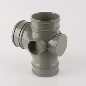 Brett Martin 110mm PVCu 92° Triple SW Socket Access Branch Grey Olive
