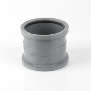 Brett Martin 110mm Push Fit PVCu Double Socket Slip Coupler Grey