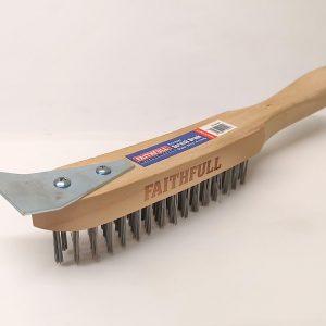 Wire Brush  4 Row With Scraper