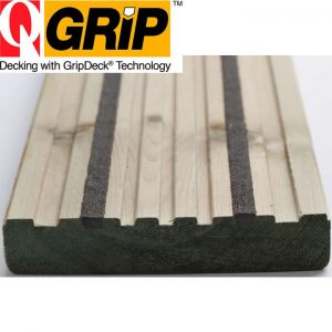 Q-Grip Slip Resistant Canterbury Style Decking 27mm x 144mm°