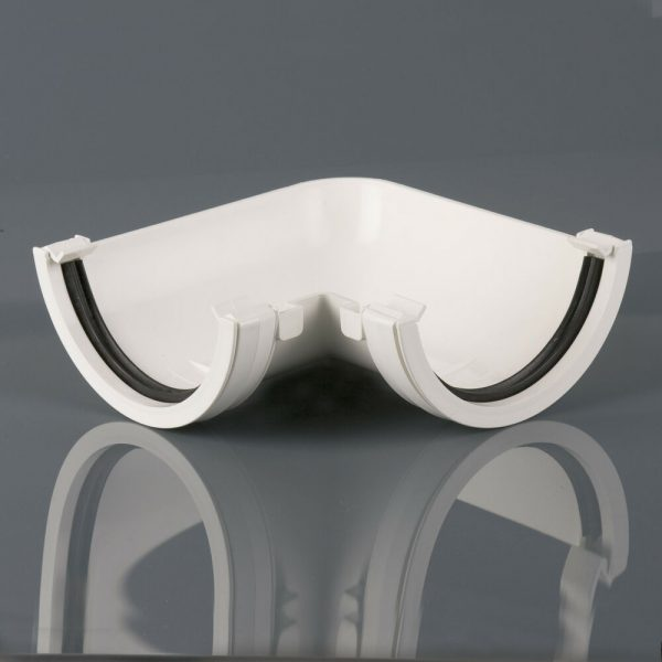 Brett Martin 112mm Roundstyle PVCu Fabricated Gutter Angle White